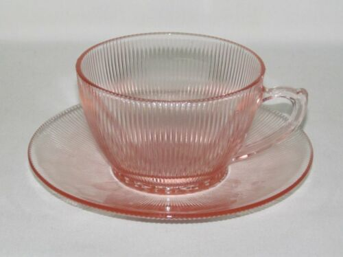 Jeannette Glass HOMESPUN Pink Cup and Saucer Set