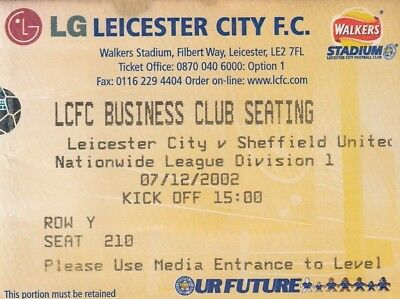 Ticket - Leicester City v Sheffield United 07.12.02