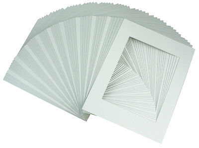 Set of 50 12x16 WHITE Photo Mats for 8x12 + backing + bags