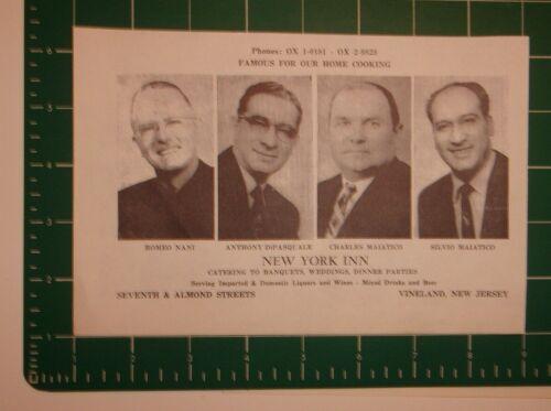 1961 New York Inn Advertisement Vineland, NJ