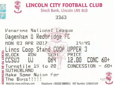 Ticket - Lincoln City v Dagenham & Redbridge 03.04.17
