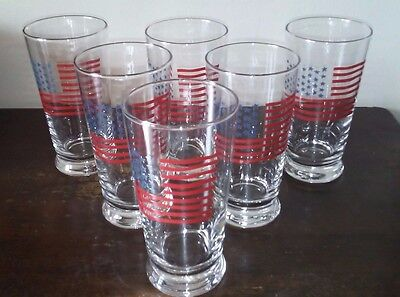 Vtg Lot 6 Williams Sonoma Fourth of July Juice Tumblers in Box Stars and Stripes](Halloween Juice Boxes)