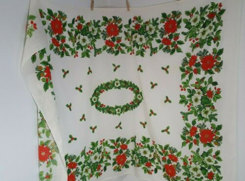 Vintage Christmas Table Cloth Red Green Poinsettia 52x70 Rectangle Cotton 4048