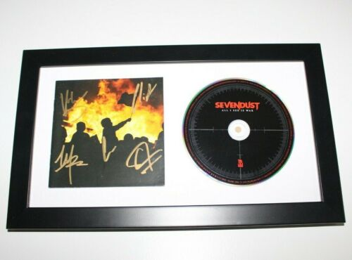 SEVENDUST BAND SIGNED FRAMED 'ALL I SEE IS WAR' CD COVER BOOKLET w/COA MATTED