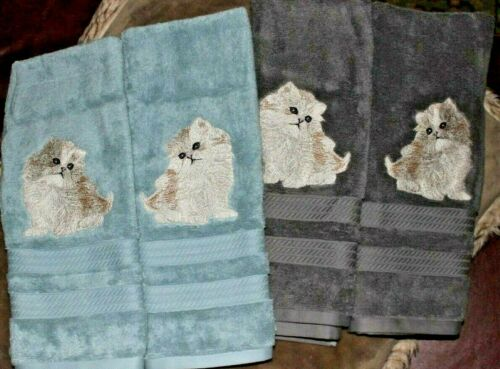 Persian Kitty Cat Gorgeous Bathroom Set HAND TOWELS EMBROIDERED