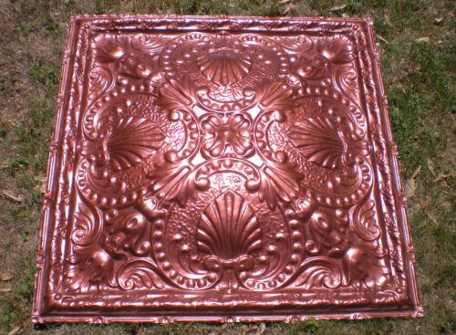 SALE Rare 34.5 x 34.5 Antique Ceiling Tin Tile Medallion Torches Shells Wall Art