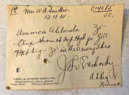 Antique Heroin Elix Prescription 1915 Paper Ephemera Leavenworth Kansas Pharmacy