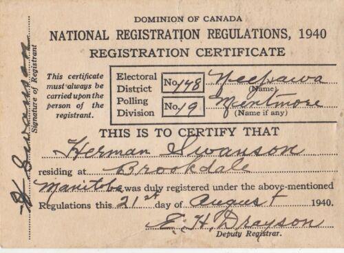 Dominion of Canada 1940 Voter Registration Card hsu2