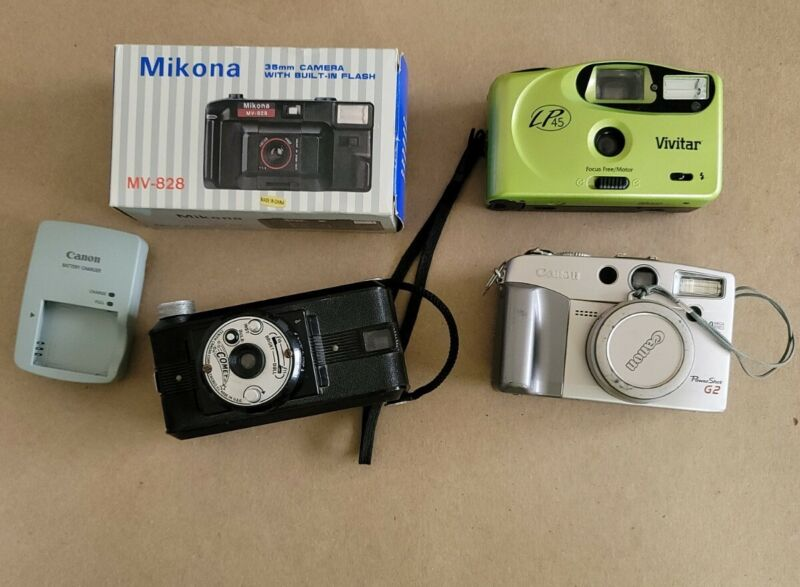 Lot Of 4 Vintage Old Camera AS IS UNTESTED NEW Mikona Vivitar, Comet, Canon READ