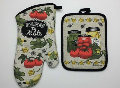 (2 Piece Set Kay Dee Designs FARM FRESH Cotton Oven Mitt and Pot Holder )