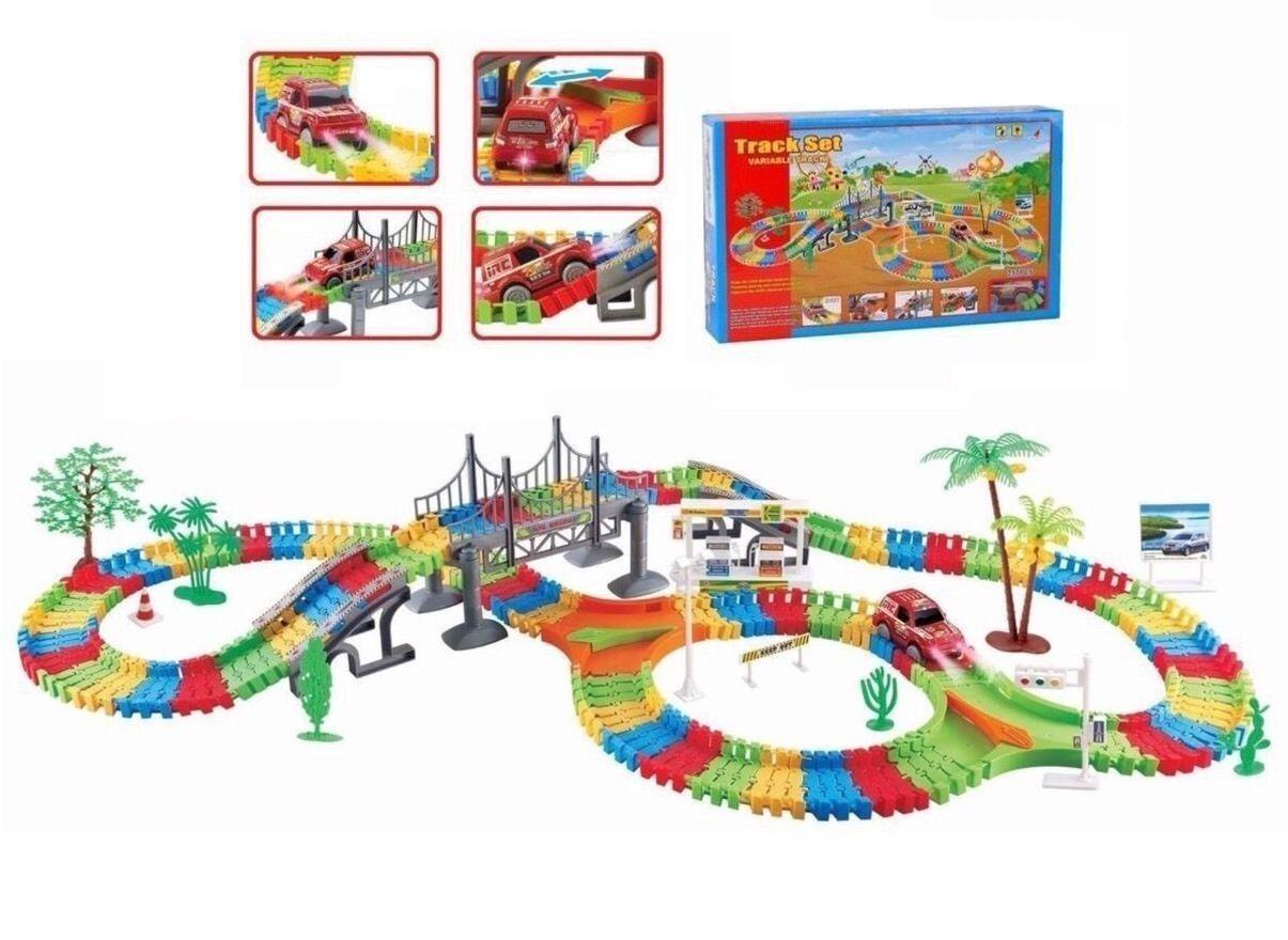 Children Kids Car Flexible Variable Track Set 154/257 Car Racing Game Battery