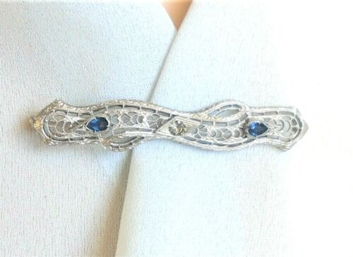 ANTIQUE Blue Clear Rhinestone Chromium Filigree Bar Pin Brooch