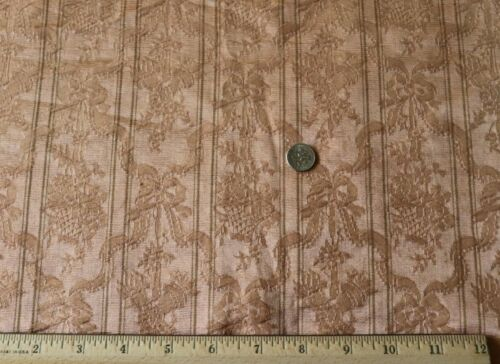 "French 19thC Antique Peach Silk Panel~Bows& Baskets~L-53"" X W-46"""