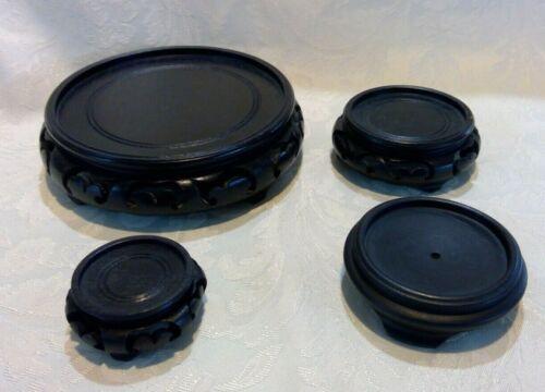 Lot of 4 ebony color Asian style ginger jar/vase wood stand