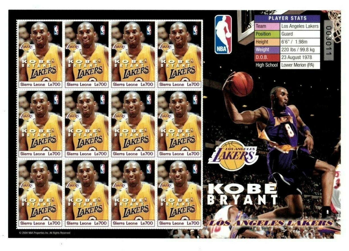 Sierra Leone - 2003 - KOBE BRYANT - Los Angeles Lakers - All Star - Sheet of 12