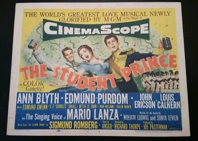 The Student Prince  title lobby card 1954 MGM  with singing voice of Mario Lanza