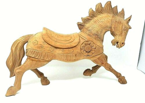 Vintage Hand Carved Wooden Horse Art Decorative Collectible