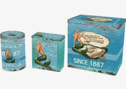 Canister Set Of 3 Mermaid Food Safe Tins Retro Beach Ocean Nautical Style Decor