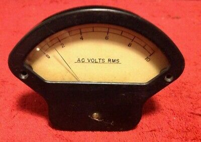 Vintage Rms Ac Volts Indicator Industrial Panel Gauge 0-10 Glass Face Steam Punk