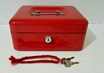 Lock Steel Cash Safe Security Box With Money Tray Multiple Compartment Red