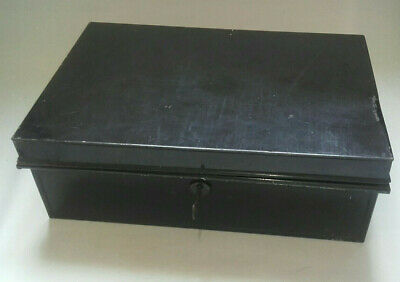 Small Vintage black metal DEED BOX with handles and key for working lock
