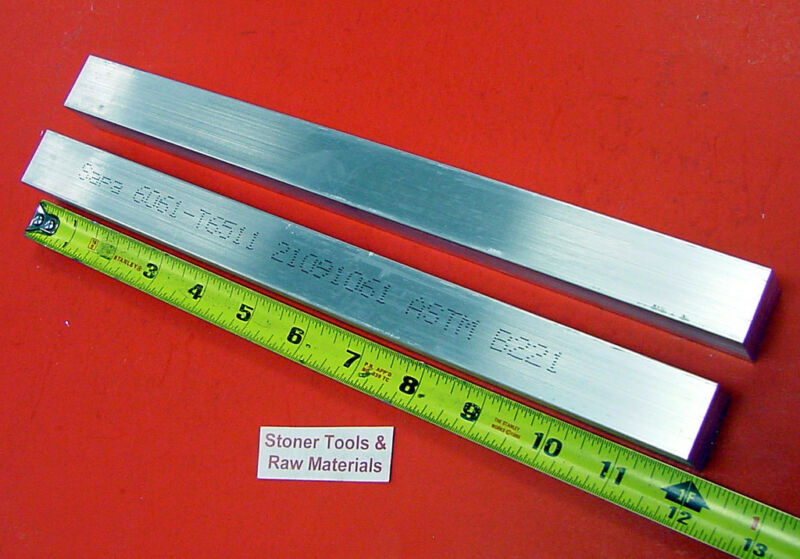"2 Pieces of 1"" X 1"" 6061 T6511 SQUARE ALUMINUM FLAT BAR 12"" long New Mill Stock"