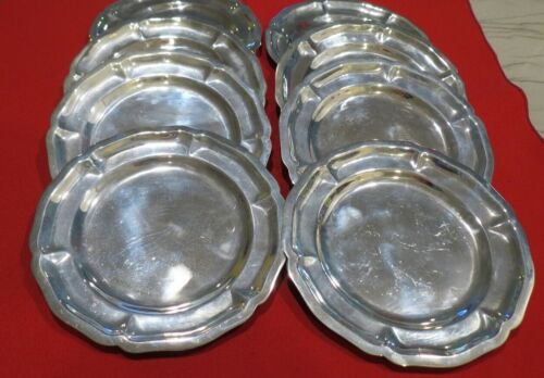Sterling Silver Mexican Bread & Butter Plates set if 8  1048 grams