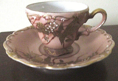 VINTAGE HAND PAINTED SHOFU CHINA DEMITASSE CUP AND SAUCER MADE IN JAPAN