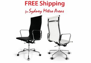 SALE - Eames Style High Back Office Chair - Italian Leather Zetland Inner Sydney Preview
