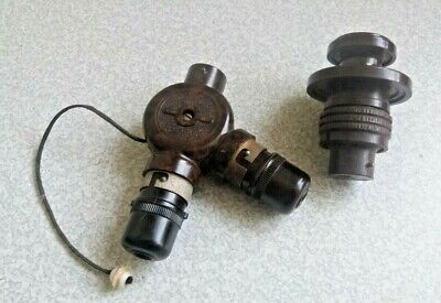 VINTAGE BAKELITE DOUBLE  CEILING LIGHT SWITCH AND ANOTHER - UNTESTED
