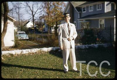 1950s Mens Suits & Sport Coats   50s Suits & Blazers Vtg 1950s 35mm Slide Fashionalble Man wearing Suit Hat Poses in Yard Old Car G27 $1.95 AT vintagedancer.com