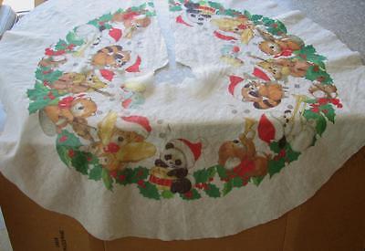 "Vintage Montag Morgan Critter Sitters Christmas Tree Skirt 48"" diam. Felt Fabric"