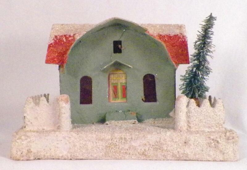 Vintage Christmas House Train Yard Putz Display Aqua Red Mica Glitter Large #129