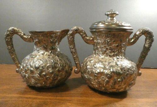 L. Atkinson Quadruple Silver Plate Antique Raised Floral Sugar and Creamer