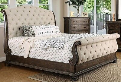 - Luxurious Sleigh king Size Bed Rustic Natural Tone Wood Carvng Tufted Fabric HB