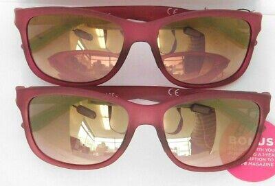 LOT of 2 - Foster Grant Shape Women's Pink Sunglasses MaxBlock 100% UVA UVB (Pink Circle Sunglasses)
