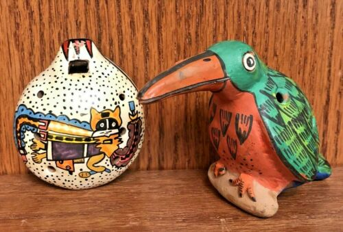 Lot of 2 Vintage Figural Clay Ocarina Whistle Hand Painted Folk Art Cuzco Peru