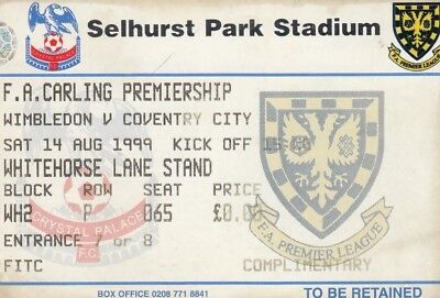Ticket - Wimbledon v Coventry City 14.08.99