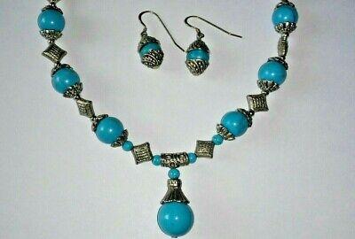 Heavy Tibet Silver Turquoise Beads Choker Necklace & Earrings Beaded Choker Necklace Earrings