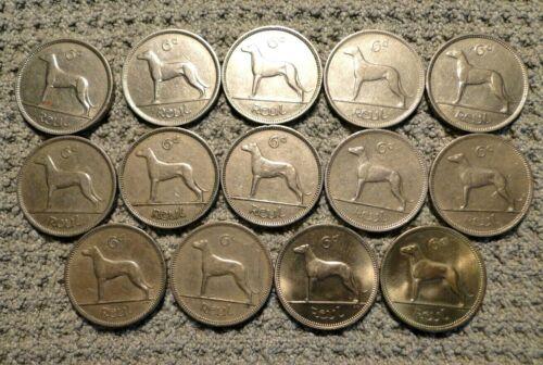 IRELAND 14 SIX PENCE COINS 1928-1968
