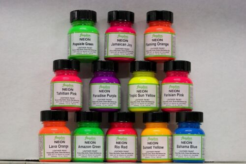 Angelus NEON Acrylic Leather Paint - 12 colors in 1oz Bottles