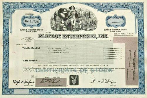 Playboy stock certificate > bunny logo Hugh Hefner as magazine Editor in Chief