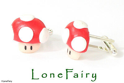 Super Mario Red or Green Toad Mushroom Character Mens Cufflinks Jewellery 1UP  ()