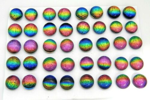 RAINBOW FOR POST EARRINGS TINY Lot 40 pcs round DICHROIC FUSED GLASS (i22) CABS