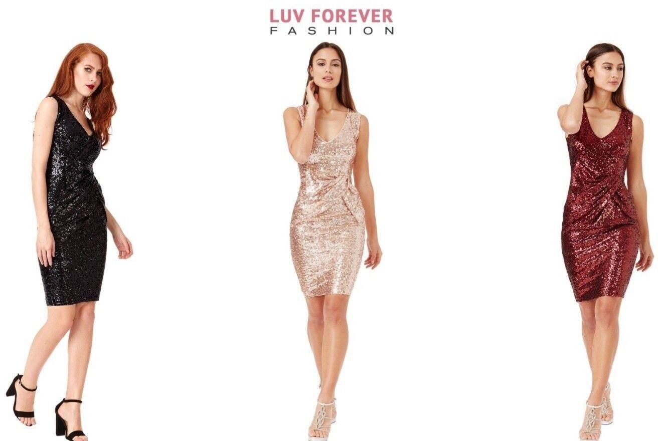 e5ed169d1666b3 Goddiva Short Sleeveless Sequin Prom Formal Evening Party Dress