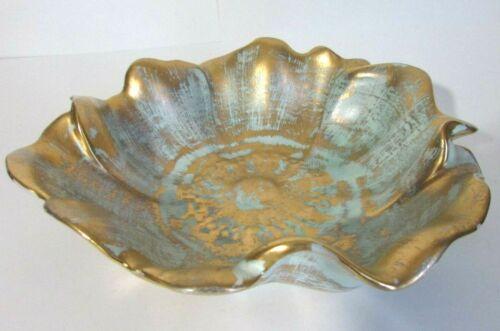 "Vintage Stangl Art Pottery Bowl - Centerpiece Bowl - Turquoise & Gold - 10"" Dia"