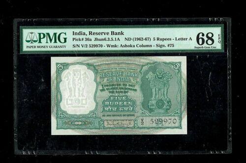 Republic of India | 5 Rupees | 1962-67 | P#36a | Superb Gem 68