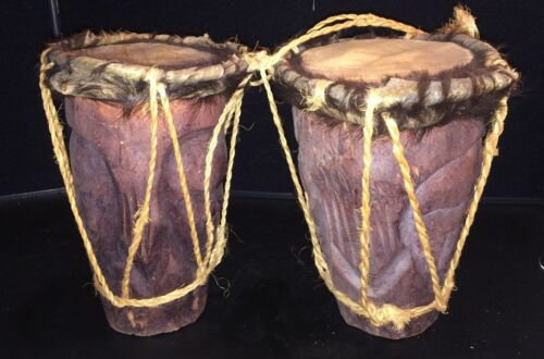 Pair of  HAND CARVED Wood DRUMs  with Animal Skin, and Fur, Vintage COLLECTIBLE