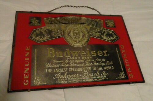 "Vintage  BUDWEISER Glass Mirror Beer Sign  RARE  24"" x 16"""