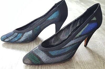 Vintage 80s J. Renee Couture Metallic Heels Size 8 Evening Cocktail Party Shoes J Renee Metallic-heels